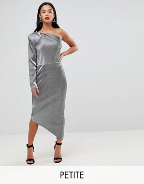 photo One Shoulder Metallic Pencil Dress by John Zack Petite, color Liquid Silver - Image 1