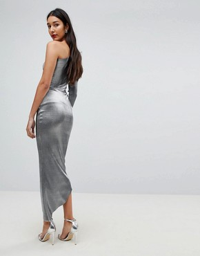 photo One Shoulder Metallic Pencil Dress by John Zack Tall, color Liquid Silver - Image 2