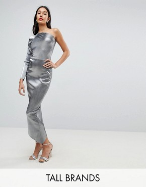 photo One Shoulder Metallic Pencil Dress by John Zack Tall, color Liquid Silver - Image 1