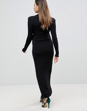 photo Wrap Front Maxi Dress by Queen Bee Maternity, color Black - Image 2