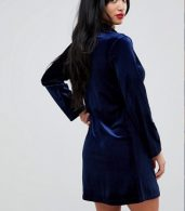 photo Allover Velvet Tuxedo Dress by John Zack Petite, color Navy - Image 2
