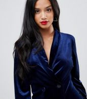 photo Allover Velvet Tuxedo Dress by John Zack Petite, color Navy - Image 3