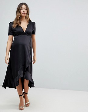 photo Wrap Front Asymmetric Ruffle Front Midi Skater Dress by Queen Bee Maternity, color Black - Image 1
