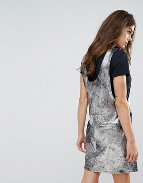 photo Metallic Mini Dress by Blank NYC, color Silver - Image 2