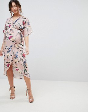 photo Kimono Style Wrap Dress in All Over Floral by Hope & Ivy Maternity, color Multi - Image 1