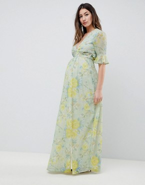 photo Floral Printed Maxi Dress with Thigh Split by Hope & Ivy Maternity, color Multi - Image 1