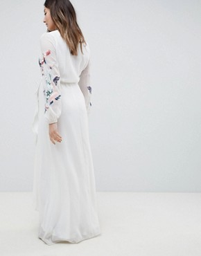 photo Wrap Front High Low Maxi Dress with Floral Embroidery by Hope & Ivy Maternity, color White - Image 2