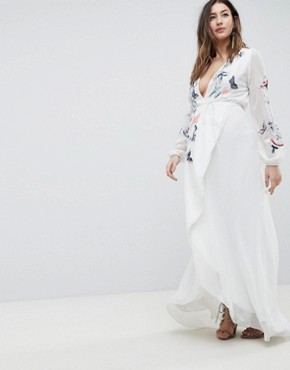 photo Wrap Front High Low Maxi Dress with Floral Embroidery by Hope & Ivy Maternity, color White - Image 1