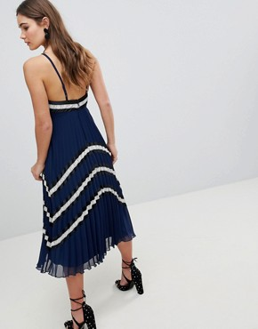 photo Pleated Midi Skater Dress with Contrast Panel by ASOS DESIGN, color Navy Stripe - Image 2