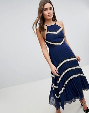 photo Pleated Midi Skater Dress with Contrast Panel by ASOS DESIGN, color Navy Stripe - Image 1