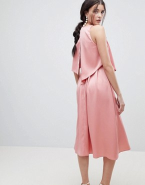 photo Crop Top Thigh Split Satin Midi Dress by ASOS DESIGN, color Blush - Image 2