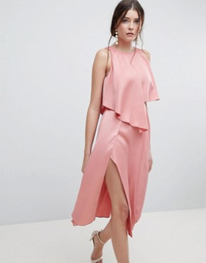 photo Crop Top Thigh Split Satin Midi Dress by ASOS DESIGN, color Blush - Image 1