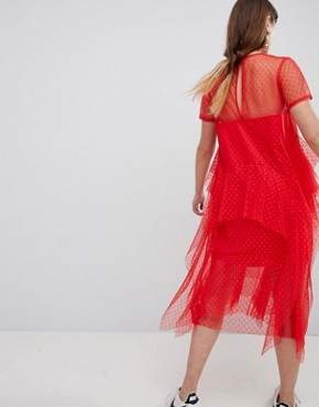 photo Dobby Mesh Midi T-Shirt Dress with Layered Ruffles by ASOS, color Red - Image 2