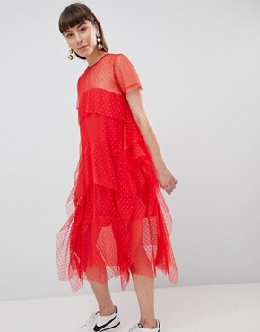 photo Dobby Mesh Midi T-Shirt Dress with Layered Ruffles by ASOS, color Red - Image 1