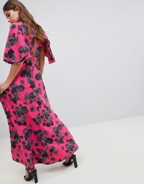 photo Bright Floral Maxi Dress with Ruffle Sleeves by ASOS, color Bright Floral Print - Image 2