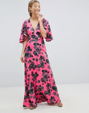 photo Bright Floral Maxi Dress with Ruffle Sleeves by ASOS, color Bright Floral Print - Image 1