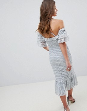 photo Linear Lace Pencil Midi Dress with Ruffle Detail by ASOS, color Soft Grey - Image 2