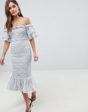 photo Linear Lace Pencil Midi Dress with Ruffle Detail by ASOS, color Soft Grey - Image 1