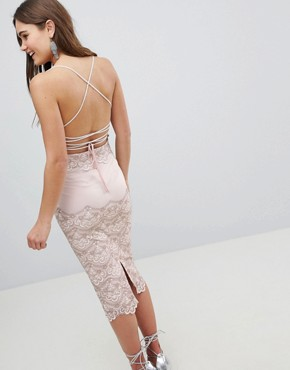 photo Delicate Placement Lace Cami Midi Pencil Dress by ASOS, color Cream - Image 2