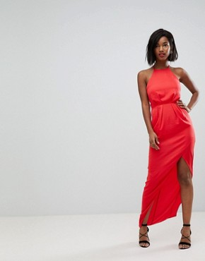 photo Hammered Satin Maxi Dress with Lace Up Back by ASOS, color Red - Image 2