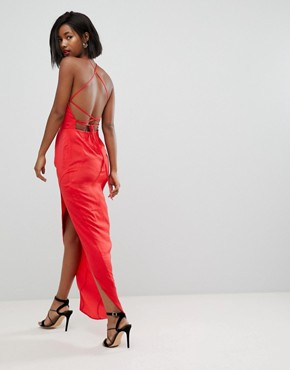 photo Hammered Satin Maxi Dress with Lace Up Back by ASOS, color Red - Image 1