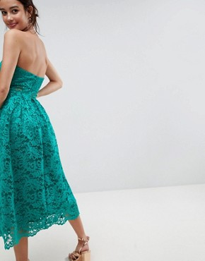 photo Bandeau Lace Midi Prom Dress by ASOS, color Green - Image 2