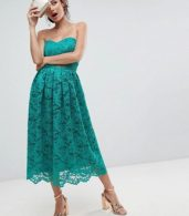 photo Bandeau Lace Midi Prom Dress by ASOS, color Green - Image 4