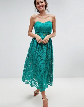 photo Bandeau Lace Midi Prom Dress by ASOS, color Green - Image 1