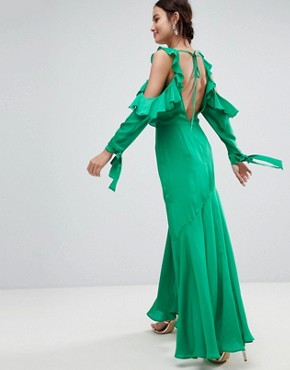 photo Ruffle Sleeve Maxi Dress with Cold Shoulder by ASOS, color Green - Image 2