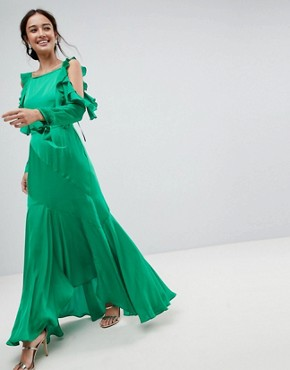 photo Ruffle Sleeve Maxi Dress with Cold Shoulder by ASOS, color Green - Image 1