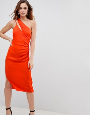 photo Hammered Satin Sexy Pencil Dress with Cami Straps and Spliced Shoulder by ASOS, color Orange - Image 1