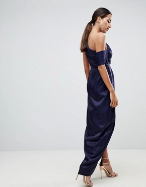 photo Hammered Satin One Shoulder Maxi Dress by ASOS, color Navy - Image 2
