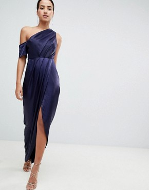 photo Hammered Satin One Shoulder Maxi Dress by ASOS, color Navy - Image 1