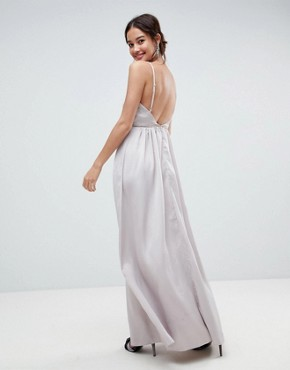 photo Embellished Trim Deep Plunge Cami Maxi Dress by ASOS, color Soft Grey - Image 2