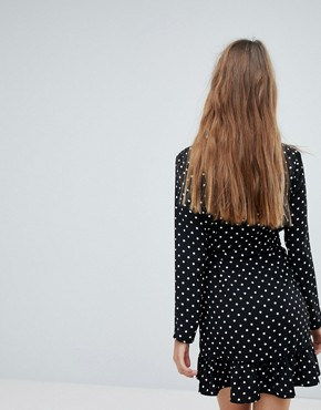 photo Spot Print Long Sleeve Wrap Dress by Bershka, color Black - Image 2