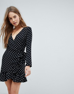 photo Spot Print Long Sleeve Wrap Dress by Bershka, color Black - Image 1