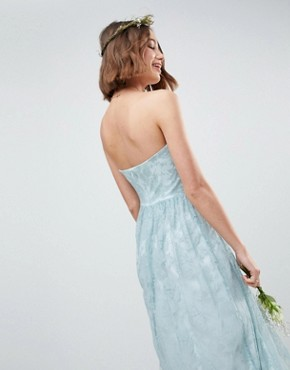 photo Design Bridesmaid Delicate Lace Sheer Insert Bandeau Maxi Dress by ASOS DESIGN, color Pastel Blue - Image 2