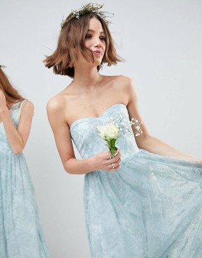 photo Design Bridesmaid Delicate Lace Sheer Insert Bandeau Maxi Dress by ASOS DESIGN, color Pastel Blue - Image 1
