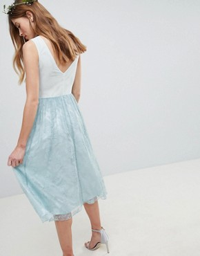 photo Design Bridesmaid Delicate Lace Sheer Insert Midi Dress by ASOS DESIGN, color Pastel Blue - Image 2