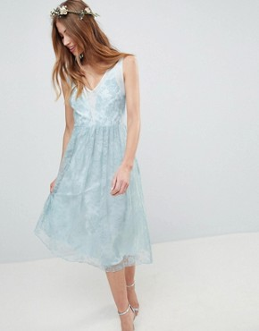 photo Design Bridesmaid Delicate Lace Sheer Insert Midi Dress by ASOS DESIGN, color Pastel Blue - Image 1