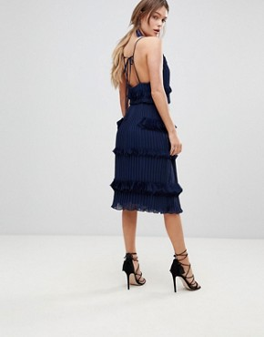 photo Pleated Ruffle Skater Dress by True Decadence Premium, color Navy - Image 2