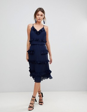 photo Pleated Ruffle Skater Dress by True Decadence Premium, color Navy - Image 1
