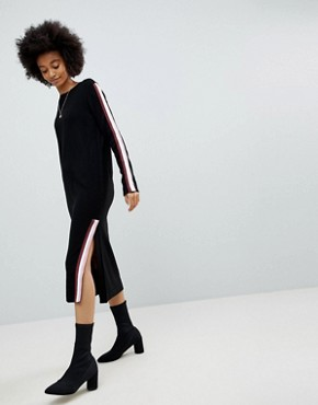 photo Knitted Midi Dress with Sports Tipping by ASOS, color Black - Image 1