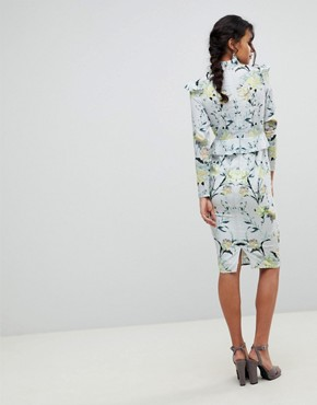 photo Mirrored Floral Printed Long Sleeve Pencil Dress with Ruffle Trim by Hope & Ivy, color Multi - Image 2
