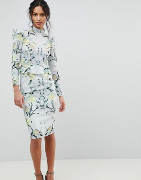 photo Mirrored Floral Printed Long Sleeve Pencil Dress with Ruffle Trim by Hope & Ivy, color Multi - Image 1