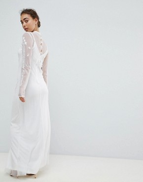photo Dotty Mesh Maxi Bridal Dress with Embroidery and High Neck Detail by Hope & Ivy, color White - Image 2