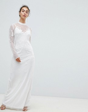 photo Dotty Mesh Maxi Bridal Dress with Embroidery and High Neck Detail by Hope & Ivy, color White - Image 1