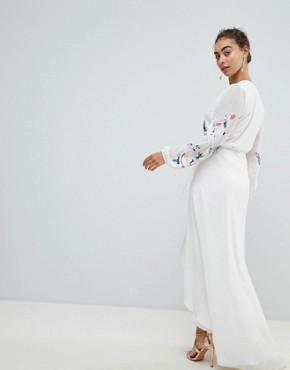 photo Wrap Front High Low Maxi Dress with Floral Embroidery by Hope & Ivy, color White - Image 2