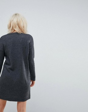 photo Chunky Knitted Dress with Wrap Detail by ASOS, color Charcoal - Image 2