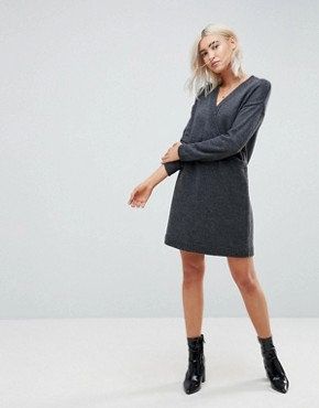 photo Chunky Knitted Dress with Wrap Detail by ASOS, color Charcoal - Image 1